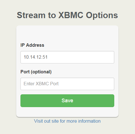 Stream to XBMC options page